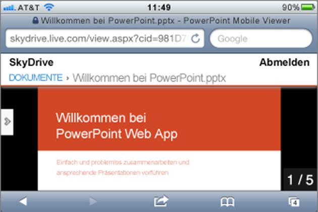 Microsoft Office Mobile iPhone-Version